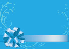 Blue vector decorative card with bow-knot. Blue  decorative card with bow-knot Royalty Free Stock Images