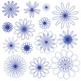 Blue vector doodle flowers on the white background Stock Image