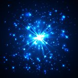 Blue vector dust explosion on black background.  Royalty Free Stock Photography