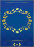 Blue vector elegant card with golden frame Royalty Free Stock Photo