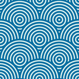 Blue vector endless pattern created with thin undulate stripes a Stock Image