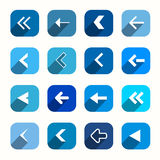Blue Vector Flat Design Arrows Set Stock Photography