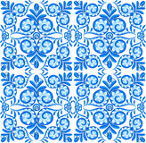 Blue vector floral ceramics seamless pattern tile in Portuguese style Stock Images