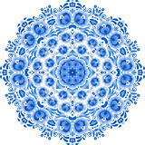 Blue vector floral ornament circle Stock Photo