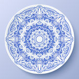 Blue vector floral ornament decorative plate Royalty Free Stock Images