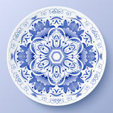 Blue vector floral ornament decorative plate Stock Photos