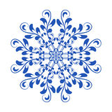 Blue vector floral Russian national ornament in style Gzhel Royalty Free Stock Photography