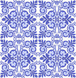 Blue vector floral square ceramics seamless pattern in Portuguese style Stock Images