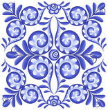 Blue vector floral square in Portuguese ceramics style Royalty Free Stock Images