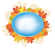 Blue vector frame with autumn leaves Royalty Free Stock Images