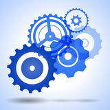 Blue vector gear, cog, wheel with shadow Royalty Free Stock Images