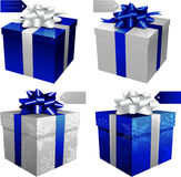 Blue vector gift boxes Stock Photography