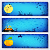 Blue vector Halloween banners backgrounds set Royalty Free Stock Images