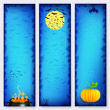 Blue vector Halloween banners backgrounds set Stock Photo