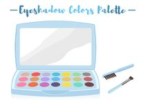 Blue vector illustration of a beauty utensil eye shadow box pale. Tte with a mirror royalty free illustration