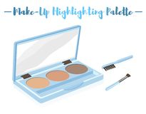 Blue vector illustration of a beauty utensil highlighting box pa. Lette with a mirror and brushes vector illustration