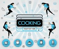 Blue vector illustration concept. Cooking book and food cover book.  healthy cooking recipe and delicious food cover can be for, m vector illustration