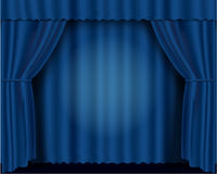 Blue vector illustration theatrical curtains Stock Photography