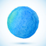 Blue vector isolated watercolor pencil circle Stock Photo