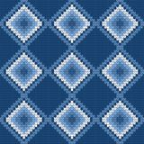 Blue vector knitted pattern Stock Photo