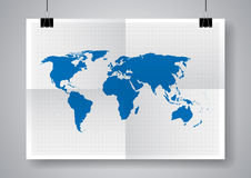 Blue vector map. World  map template. Twice a folded poster with clamps. Royalty Free Stock Image