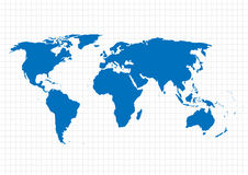 Blue vector map.  World map template.World map on the background of the grid. Vector illustration. Royalty Free Stock Image