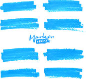 Blue vector marker stains set Royalty Free Stock Photo