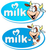 Blue vector milk logo with cow Stock Images