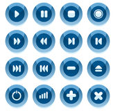 Blue vector multimedia buttons. Royalty Free Stock Images