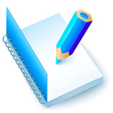 Blue vector notebook with colored pencil Royalty Free Stock Image