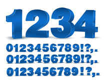 Blue vector numbers. Four set of blue colored 3d vector numbers, from 0 to 9 Stock Images