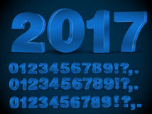 Blue vector numbers. Four set of blue colored 3d vector numbers, from 0 to 9 Royalty Free Stock Photography