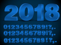 Blue vector numbers. Four set of blue colored 3d vector numbers, from 0 to 9 and 2018 title Stock Photo