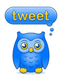 Blue vector owl icon with a Tweet speech bubble Royalty Free Stock Photo