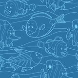 Blue vector pattern with fish Royalty Free Stock Photo