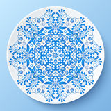 Blue vector plate with floral ornament Stock Image