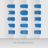 Blue vector price ribbons. Sale tags. Isolated Stock Photography
