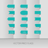Blue vector price ribbons. Sale tags. Isolated Stock Photo
