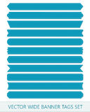Blue vector price ribbons. Wide sale tags banners.  Royalty Free Stock Photography