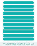 Blue vector price ribbons. Wide sale tags banners embroidered thread.  Stock Image