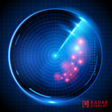 Blue Vector Radar Display Royalty Free Stock Photography