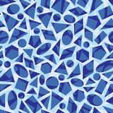 Blue vector repeat pattern with geometrical shapes. vector illustration