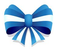 Blue vector ribbon bow graphic isolated on white background. Ideal for sticker, packaging, banner or any kind of decoration Royalty Free Stock Photography