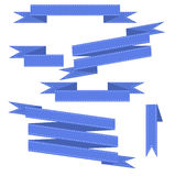 Blue vector ribbons set. Isolated on background Royalty Free Stock Photography