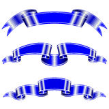 Blue vector ribbons with a stripe for your design project Royalty Free Stock Photo