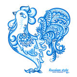 Blue vector rooster in Russian traditional gzhel style, Chinese symbol of 2017 New year. Blue vector rooster in Russian traditional gzhel style, vector symbol of Stock Images