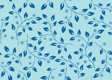Blue vector seamless pattern with branches Stock Image