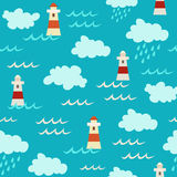 Blue vector seamless pattern. Cute red lighthouses elements Royalty Free Stock Photography