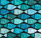 Blue vector seamless pattern with fishes, fully editable eps 8 file with clipping masks and pattern in swatch menu. Stock Photo