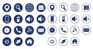 Colorful web icons, vector set. Blue vector set / web icons  for websites or web applications Royalty Free Stock Photos